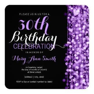 Elegante 30. Geburtstags-Party-Glitzern lila Quadratische 13,3 Cm Einladungskarte