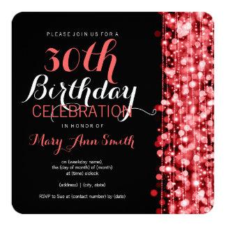 Elegante 30. Geburtstags-Party-Glitzern rot Quadratische 13,3 Cm Einladungskarte