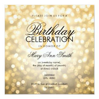 Elegante 30. Geburtstags-Party-GoldGlitter-Lichter Quadratische 13,3 Cm Einladungskarte