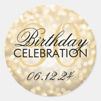 Elegante 30. Geburtstags-Party-GoldGlitter-Lichter Runder Aufkleber