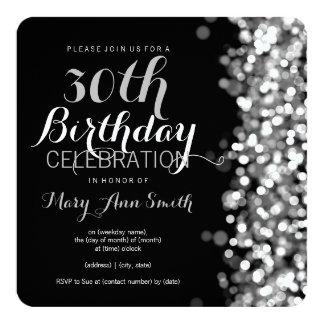 Elegante 30. Geburtstags-Party-Silber-Lichter Quadratische 13,3 Cm Einladungskarte