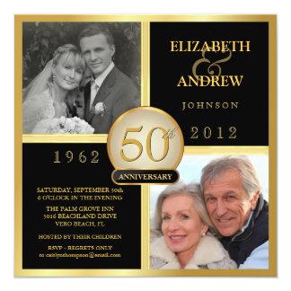 Elegante 50. Hochzeits-Jahrestags-Foto-Einladungen Quadratische 13,3 Cm Einladungskarte