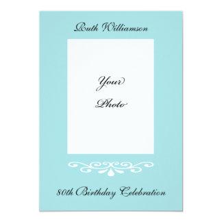 Elegante 80. Geburtstags-Foto-Einladung 12,7 X 17,8 Cm Einladungskarte