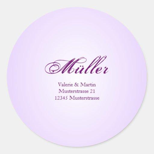 Elegante Adressaufkleber in Lila für Ihre Hochzeit Stickers