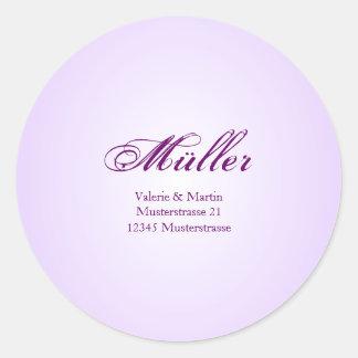 Elegante Adressaufkleber in Lila für Ihre Hochzeit Runder Aufkleber