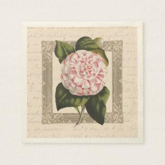 Elegante antike Kamelien-Vintager botanischer Serviette