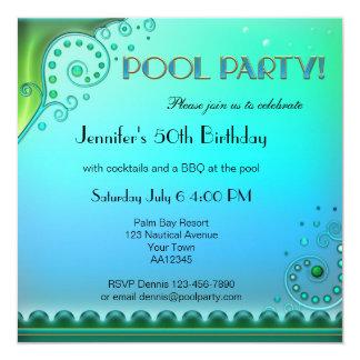 Elegante Aqua-Pool-Party Einladung Quadratische 13,3 Cm Einladungskarte