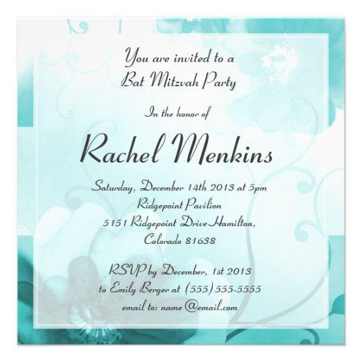 Elegante aquamarine Blumenschläger Mitzvah Personalisierte Einladung