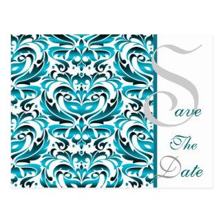 Elegante aquamarine Damast-Save the Date Postkarte