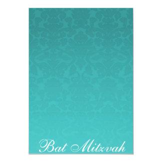 Elegante aquamarine Damast-Schläger Mitzvah 12,7 X 17,8 Cm Einladungskarte