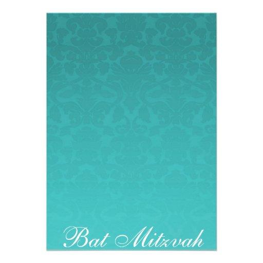 Elegante aquamarine Damast-Schläger Mitzvah Einladungskarte