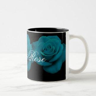 Elegante aquamarine Rosen-Kaffee-Tasse Zweifarbige Tasse