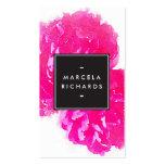 Elegante Aquarell-Rosa-Pfingstrosen Visitenkarten Vorlage