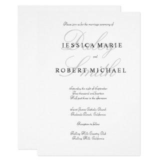 Elegante Art-schwarze u. weiße Hochzeits-Einladung 12,7 X 17,8 Cm Einladungskarte