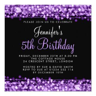Elegante Baby-/Kindergeburtstag-Party-Glitzern Quadratische 13,3 Cm Einladungskarte