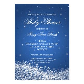 Elegante Babyparty-funkelndes Wellen-Blau Individuelle Einladungen
