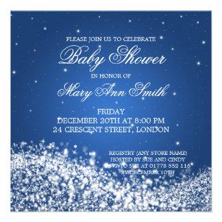 Elegante Babyparty-funkelndes Wellen-Blau Individuelle Einladungskarte