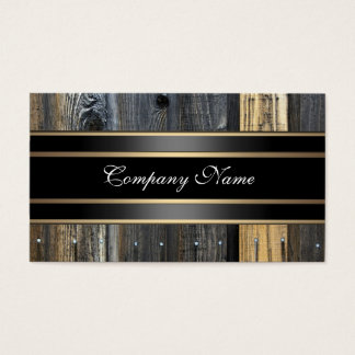Elegante beige hölzerne Blick-Schwarz-Bronze Visitenkarte