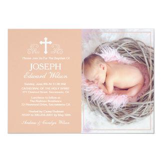 Elegante beige Taufe-Foto-Einladungs-Karte 12,7 X 17,8 Cm Einladungskarte