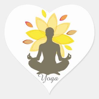 Elegante berufliche Yoga-Lotos-Pose Herz-Aufkleber