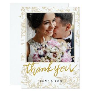 Elegante Blätter-Foto-Hochzeit danken Ihnen zu Karte