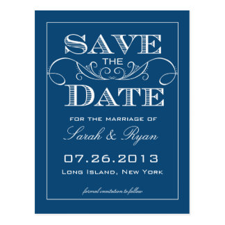 Elegante Blau-Save the Date Mitteilung Postkarte