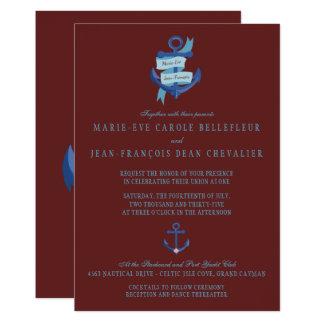 Elegante blaue Anker-nautischHochzeit in 12,7 X 17,8 Cm Einladungskarte