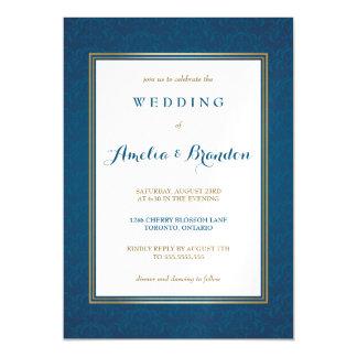 Elegante blaue Damast-Steigung Wedding | Magnetische Karte