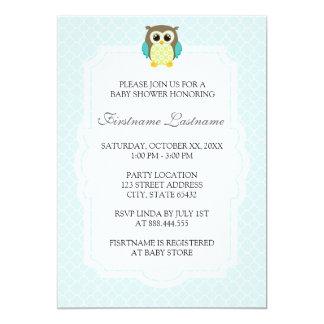 Elegante blaue Eulen-Babyparty-Einladungen