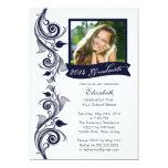 Elegante blaue Foto-Abschluss-Party Einladung