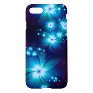 Elegante blaue Fraktal-Blumen iPhone 8/7 Hülle