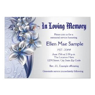 Elegante blaue Gedenkveranstaltung-Mitteilungen Karte