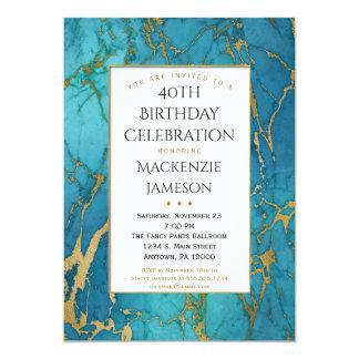 Elegante blaue Goldmarmor-Geburtstags-Einladung Karte