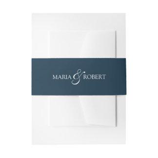 Elegante blaue Hochzeits-Bauch-Marinebänder Einladungsbanderole