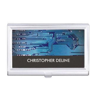 Elegante blaue Rechnerschaltung-Brett-Hightech Visitenkarten Etui