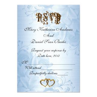 Elegante blaue Satinhochzeit des UAWG 12,7 X 17,8 Cm Einladungskarte