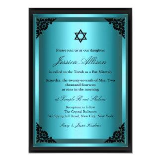 Elegante blaue u. schwarze Schläger Mitzvah 12,7 X 17,8 Cm Einladungskarte
