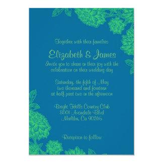 Elegante blaue und grüne Hochzeits-Einladungen 12,7 X 17,8 Cm Einladungskarte