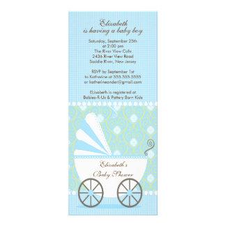 Elegante blaue Wagen-Jungen-Babyparty-Einladung