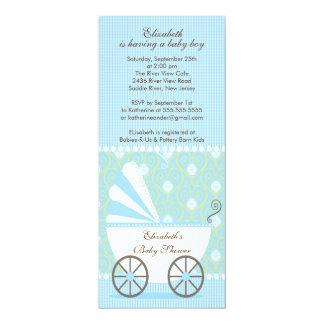 Elegante blaue Wagen-Jungen-Babyparty-Einladung 10,2 X 23,5 Cm Einladungskarte