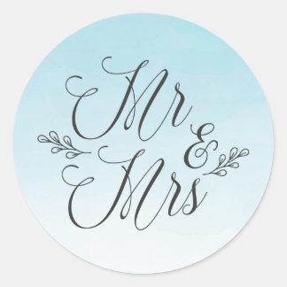 Elegante blaue Wedding Aufkleber Ombre Aquarell-|