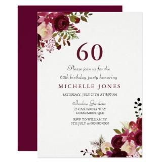 Elegante Blumen60. Geburtstags-Einladung Karte