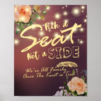 Elegante Blumen-Auswahl Seat nicht ein Poster