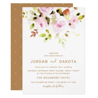 Elegante BlumenAquarell-Hochzeits-Einladung Karte