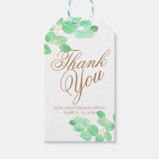 Elegante Blumeneukalyptushochzeit danken Ihnen zu Geschenkanhänger