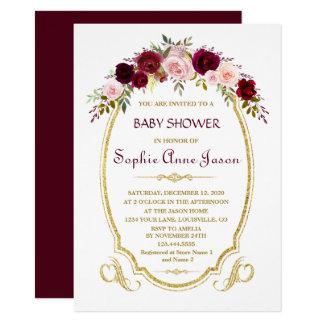 Elegante Blumenfall-Babyparty Burgunders Marsala Karte