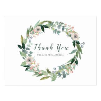 Elegante BlumenKranz-Hochzeit danken Ihnen Postkarte