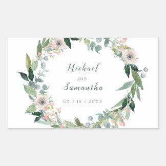 Elegante BlumenKranz-Hochzeits-Aufkleber Rechteckiger Aufkleber