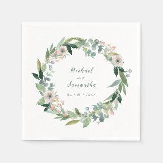 Elegante BlumenKranz-Hochzeits-Servietten Serviette
