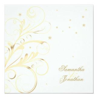 Elegante Blumenstrudel-Hochzeit u. Party Einladung